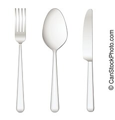Fork spoon knife on white background
