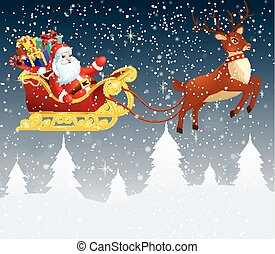 Santa Claus in a sleigh with a big bag full of gifts.