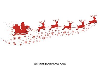 Santa on Sleigh and with reindeers on background of snowy stars, red silhouette.