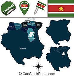 Map of Suriname with Named Districts - Vector map of...