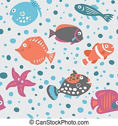 Seamless pattern on marine theme in the children's style -...