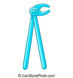 Dental extraction forceps icon, cartoon style