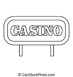 Casino signboard icon, outline style - Casino signboard...