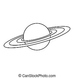 Saturn planet icon, outline style - Saturn planet icon....