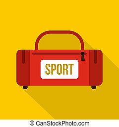 Red sports bag icon, flat style - Red sports bag icon. Flat...