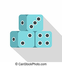 Blue dice cubes icon, flat style - Blue dice cubes icon....