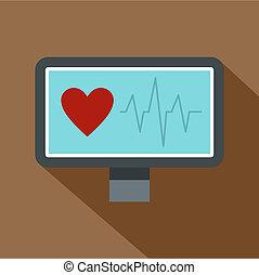Heartbeat monitoring icon, flat style - Heartbeat monitoring...