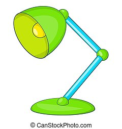 Green table lamp icon, cartoon style - Green table lamp...