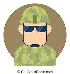 apartamento, estilo, soldado,  avatar, ícone, macho