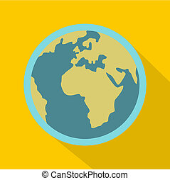 Blue planet Earth icon, flat style - Blue planet Earth icon....