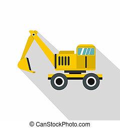 Excavator icon, flat style - Excavator icon. Flat...
