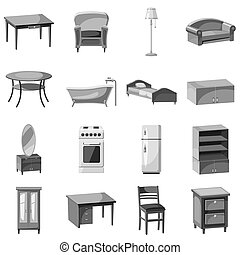 Furniture and household appliances icons set. Gray...