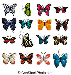 Butterfly icons set, cartoon style - Butterfly icons set....
