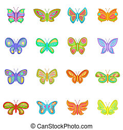 Butterfly fairy icons set, cartoon style - Butterfly fairy...
