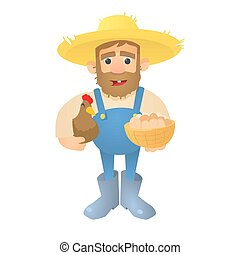 Farmer with hen and eggs icon, flat style - Farmer with hen...