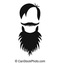 Male avatar with beard icon, simple style - Male avatar with...
