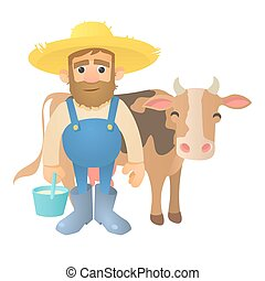 Farmer with cow icon, flat style - Farmer with cow icon....