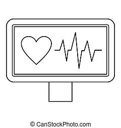 ECG monitor icon, outline style - ECG monitor icon. Outline...