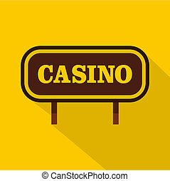 Casino signboard icon, flat style - Casino signboard icon....