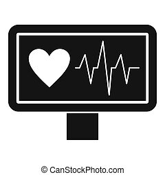 Heartbeat icon, simple style - Heartbeat icon. Simple...