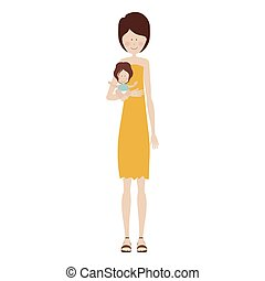mother carrying a baby girl vector illustration