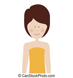 half body adult woman with short hair vector illustration