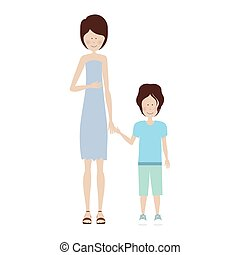mother holding hand a little boy vector illustration