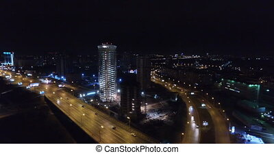 Night-time aerial shot of the City of Novosibirsk financial...