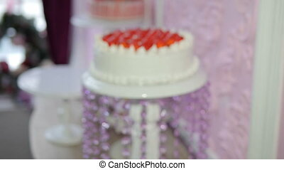 Cake in slow motion - The movement of the camera from not...