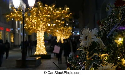 Abstract background, the streets are decorated for the holiday.
