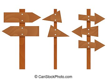 Wooden arrows signs set