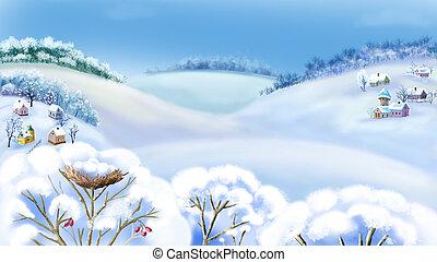 Rural Landscape in Frosty Winter Day - Romantic Rural...