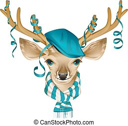 Christmas deer head in blue fashionable hat