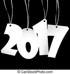 hang tags with year 2017 - white colored hang tag numbers...