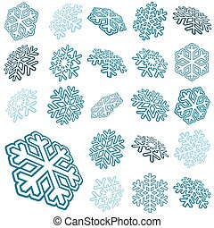 collection abstract snow flakes - collection of different...