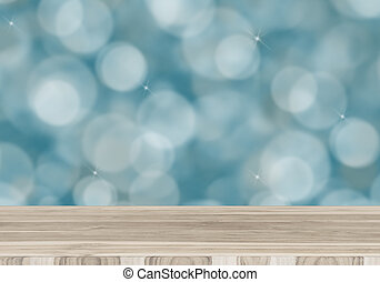 Wood table top on blurred abstract of bokeh and natural...