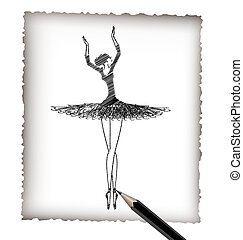 pencil and the image of ballet