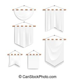 Set of realistic white textile banners