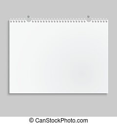 Blank wall calendar with spring.