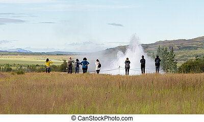 Impressive eruption of the biggest active geysir, Strokkur,...