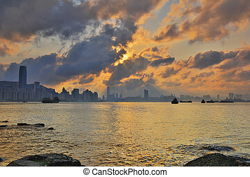 Hong Kong water bay at sunset - hk Sunset, Yau Tong Lei Yue...