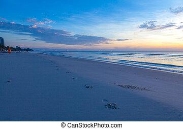 Sunrise over on the beach - An impressive sunrise over the...
