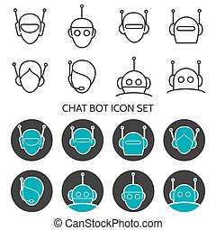 Chat bot icon set - Chat bot icons set vector. Robots head...