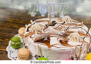 velas, número, Plano de fondo, año, pastel, nuevo, navidad,  2017