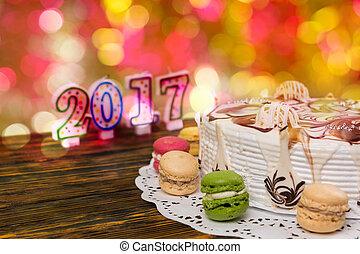 velas,  macarons, número, Plano de fondo, año, pastel, nuevo,  2017, navidad