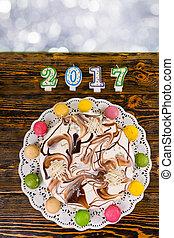 velas, número, año, pastel, nuevo, navidad,  2017