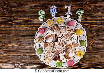reloj, de madera, velas, año, número,  macarons, escritorio, pastel, nuevo,  2017