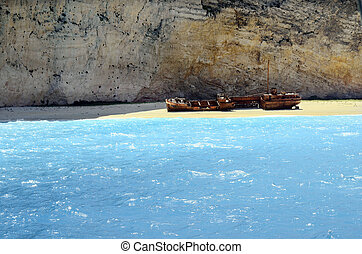 Greece, Zakynthos Island, stranded ship on shipwreck beach,...