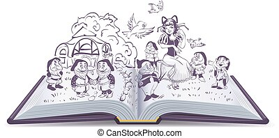 Fairy tale Snow White and 7 Dwarfs - Open book illustration....