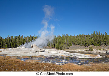 Geyser - Giant geyser in the Yellowstone national park, USA